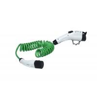 16A Zencar zöld spirál elektromos autó töltőkábel (Type2-Type1)